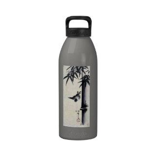 竹に雀, 歌川広重 Bamboo & Sparrow, Hiroshige, Sumi-e Drinking Bottle