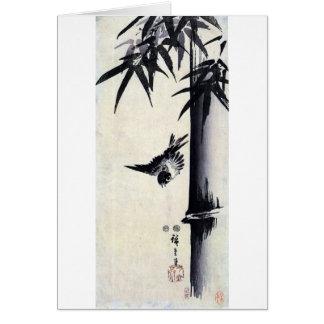 竹に雀 bambú y gorrión Hiroshige Sumi-e del 歌川広重 Felicitacion