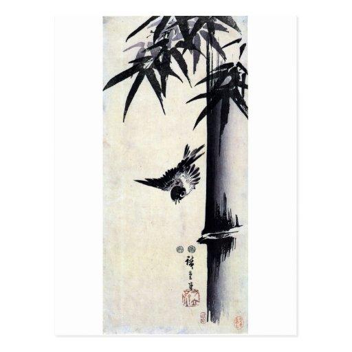 竹に雀, bambú y gorrión, Hiroshige, Sumi-e del 歌川広重 Tarjeta Postal