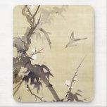 竹に鳥, pájaro y bambú, Kiitsu, arte del 其一 de Japón Mouse Pads