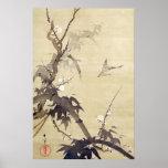 竹に鳥, pájaro y bambú, Kiitsu, arte del 其一 de Japón Poster