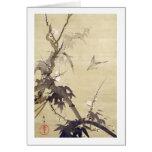 竹に鳥, pájaro y bambú, Kiitsu, arte del 其一 de Japón Tarjetón