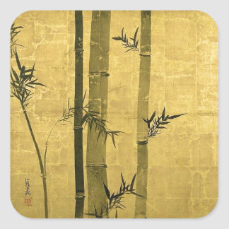 竹図, 光琳 Bamboo, Ogata Kōrin, Sumi-e Square Stickers