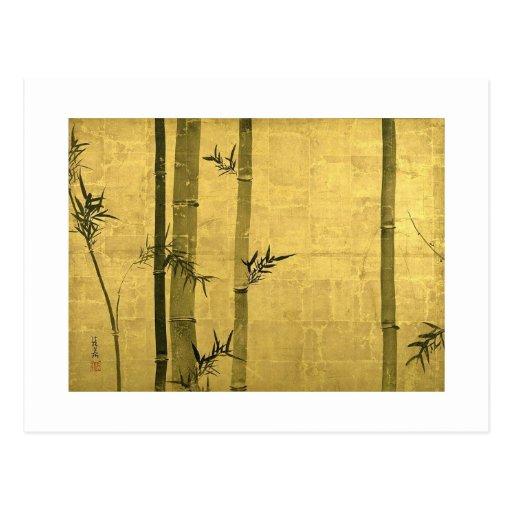 竹図, bambú del 光琳, Ogata Kōrin, Sumi-e Tarjeta Postal