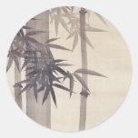 竹, bambú del 其一, Kiitsu, arte de Japón Pegatina Redonda