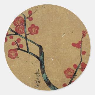 紅梅図, 光琳 Plum Blossoms, Kōrin Round Sticker