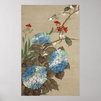紫陽花とトンボ 抱一 Hydrangea and Dragonfly Hōitsu Poster