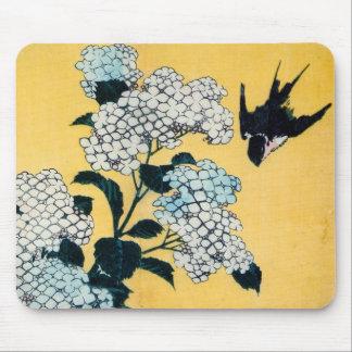 紫陽花と燕, 北斎 Hydrangea and Swallow, Hokusai, Ukiyoe Mouse Pad