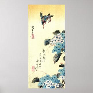 紫陽花にカワセミ 広重 Hydrangea and Kingfisher Hiroshige Posters