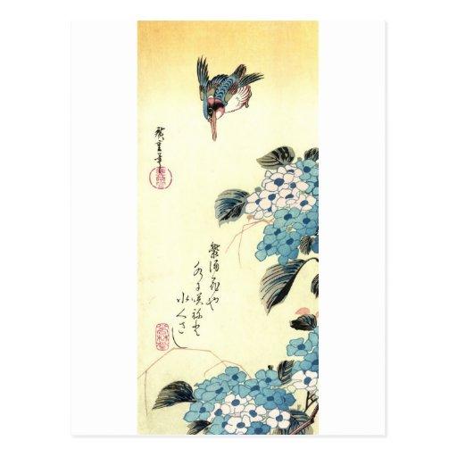 紫陽花にカワセミ, Hydrangea y martín pescador, Hiroshige Tarjetas Postales