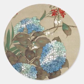 紫陽花, 抱一 Hydrangea, Hōitsu Classic Round Sticker
