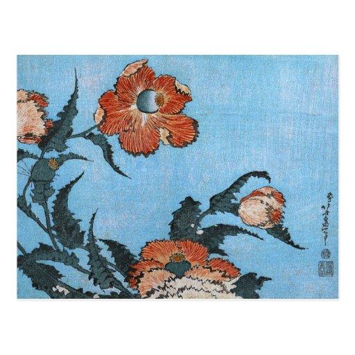 罌粟 /Poppies, 葛飾北斎 /Katsushika Hokusai Tarjetas Postales