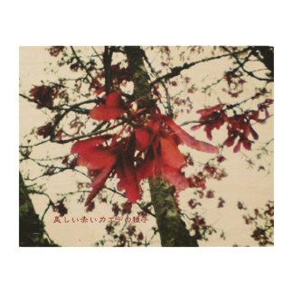 美しい赤いカエデの種子 WOOD WALL ART