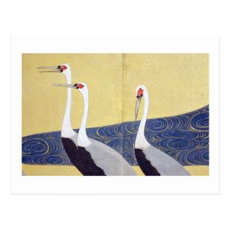 群鶴図屏風(部分), 其一 Cranes(detail), Kiitsu Postcard