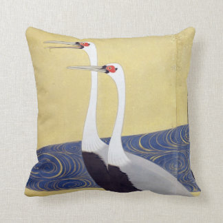 群鶴図屏風(部分), 其一 Cranes(detail), Kiitsu Throw Pillow