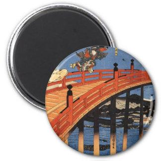 義経と弁慶, 国芳, Yoshitsune & Benkei, Kuniyoshi, Ukiyo-e 2 Inch Round Magnet