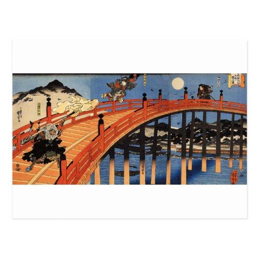 義経と弁慶, 国芳, Yoshitsune & Benkei, Kuniyoshi, Ukiyo-e Postcard