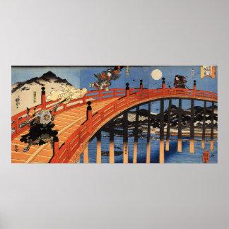 義経と弁慶, 国芳, Yoshitsune y Benkei, Kuniyoshi, Ukiyo-e Póster