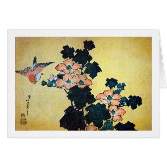 芙蓉に雀, 北斎 Hibiscus Mutabilis and Sparrow, Hokusai Card