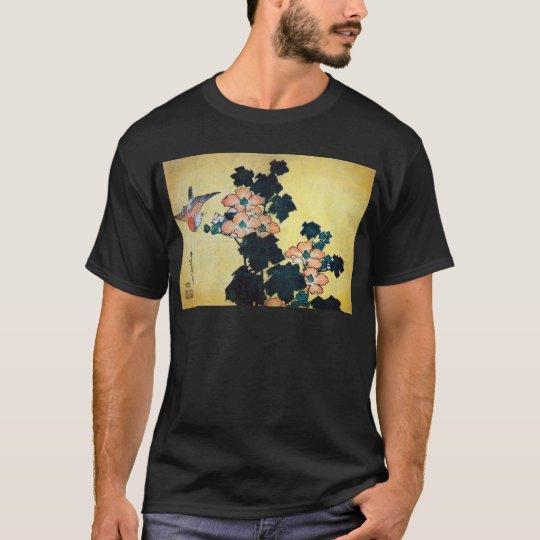 芙蓉に雀, 北斎 Hibiscus Mutabilis and Sparrow, Hokusai T-Shirt