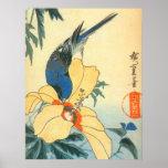 芙蓉に青い鳥, hibisco y pájaro azul, Hiroshige del 広重 Impresiones