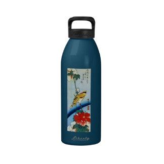 芙蓉に鳥, 広重 Bird & Mutabilis, Hiroshige, Ukiyo-e Reusable Water Bottle