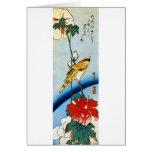芙蓉に鳥, pájaro y Mutabilis, Hiroshige, Ukiyo-e del 広 Tarjeta