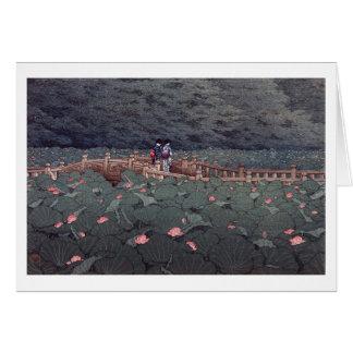 芝弁天池, Lotus of Benten Pond, Hasui Kawase, Woodcut Card