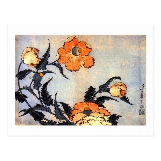 芥子の花, 北斎 Poppies, Hokusai, Ukiyoe Postcard