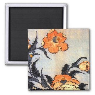 芥子の花, amapolas del 北斎, Hokusai, Ukiyoe Iman De Nevera