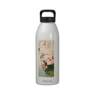 花にトンボ, 広重 Dragonfly and Flower, Hiroshige, Ukiyo-e Drinking Bottles