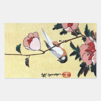 花に鳥, 広重 Bird and Flower, Hiroshige, Ukiyo-e Rectangular Sticker