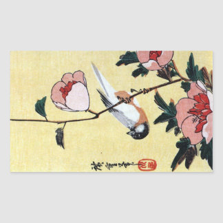花に鳥, 広重 Bird and Flower, Hiroshige, Ukiyo-e Rectangle Stickers