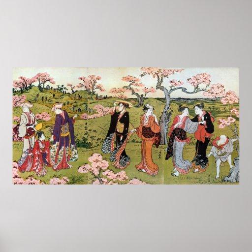 花見, visión de la flor del 清長, Kiyonaga, Ukiyo-e Impresiones