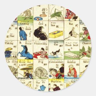 英単語表, tabla de palabras inglesas, Ukiyo-e del 亀吉 Etiquetas Redondas