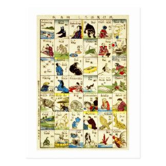 英単語表, tabla de palabras inglesas, Ukiyo-e del 亀吉 Tarjeta Postal