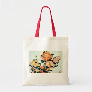 菊と蜂, crisantemo y abeja, Hokusai del 北斎 Bolsa