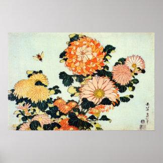 菊と蜂, crisantemo y abeja, Hokusai del 北斎 Póster