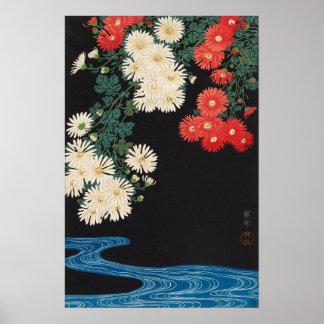 菊に流水, crisantemos y corriente, Koson, Ukiyo-e del Póster