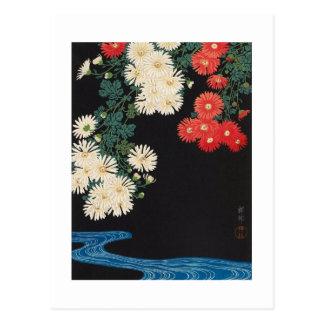 菊に流水, crisantemos y corriente, Koson, Ukiyo-e del Tarjeta Postal