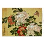 葛飾北斎 Katsushika Hokusai de la mariposa de los Peon Tarjetón