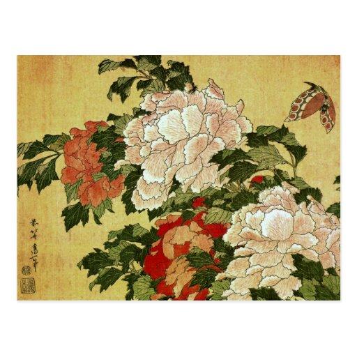 葛飾北斎 Katsushika Hokusai de la mariposa de los Peon Postal