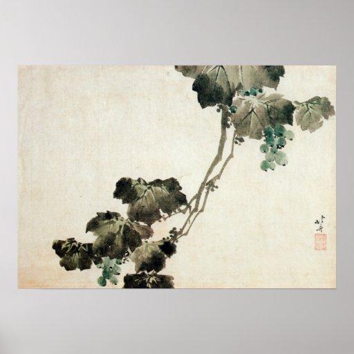葡萄, uva del 北斎, Hokusai Póster