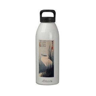 葦に白鷺, 広重 White heron and Reed, Hiroshige, Ukiyo-e Water Bottle