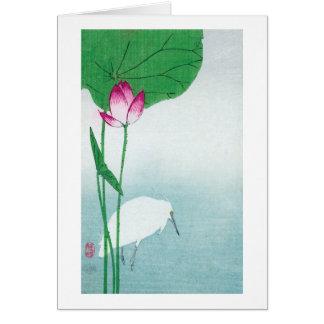 蓮に白鷺 小原古邨 Lotus White heron Koson Ukiyo-e Card