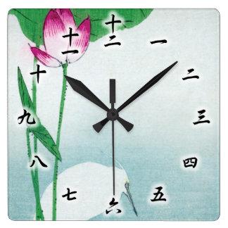 蓮に白鷺, 小原古邨 Lotus & White heron, Koson, Ukiyo-e Square Wall Clock