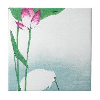 蓮に白鷺, 小原古邨 Lotus y garza blanca, Koson, Ukiyo-e Azulejo Cuadrado Pequeño