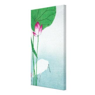 蓮に白鷺, 小原古邨 Lotus y garza blanca, Koson, Ukiyo-e Impresiones De Lienzo