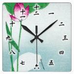 蓮に白鷺, 小原古邨 Lotus y garza blanca, Koson, Ukiyo-e Reloj De Pared
