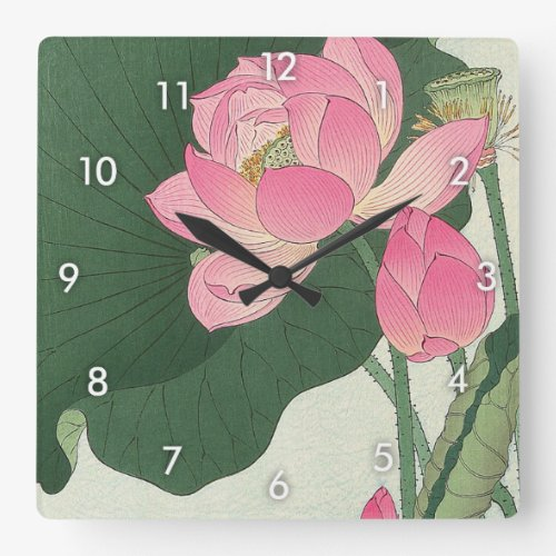 Lotus flower, Ohara Koson, Ukiyo-e Square Wall Clock